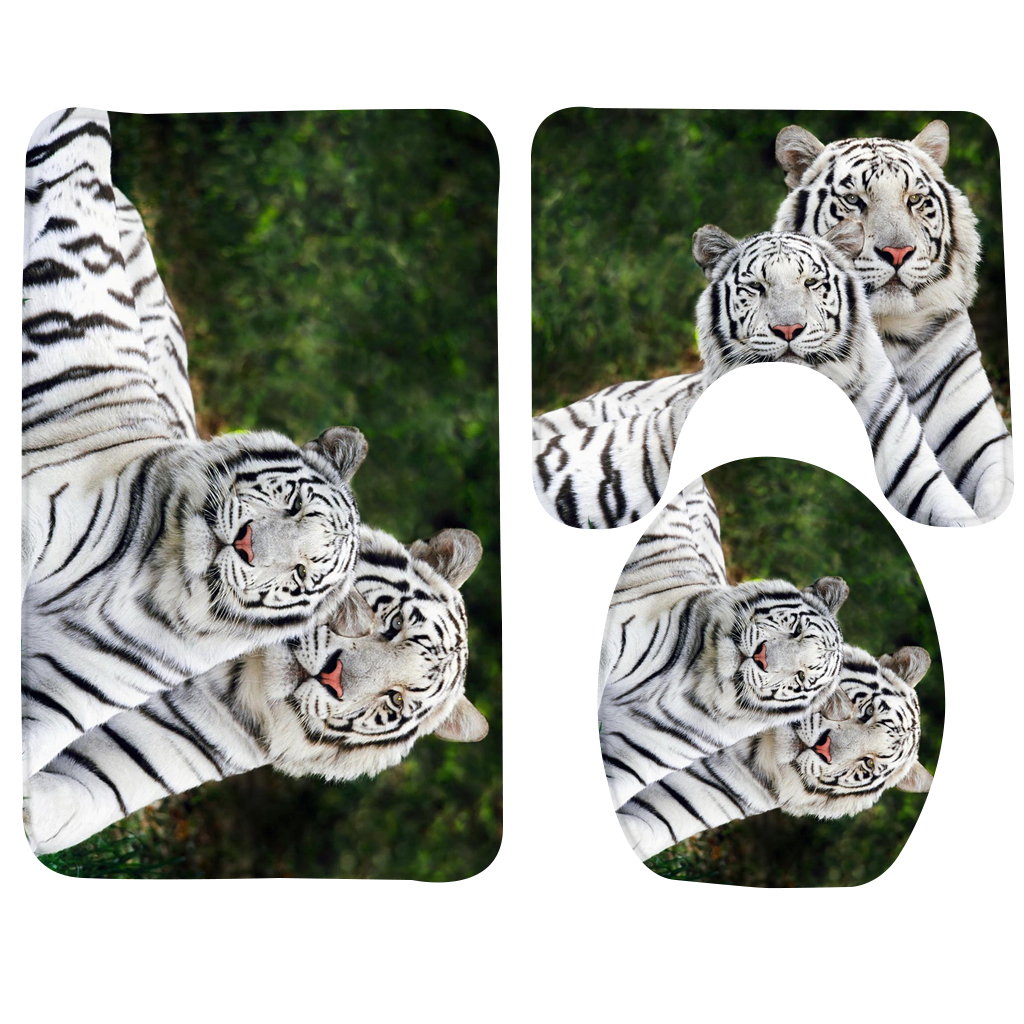3Pcs Anti Slip Bath Mat Set Animal Black and White Tiger Pattern Toilet Mat Foam Shower Mat Bathroom Products