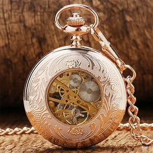 Image 3 - Antieke Rose Goud Transparant Glas Romeinse Cijfers Mechanische Hand Wind Zakhorloge Souvenir Hanger Klok Geschenken Mannen Vrouwen