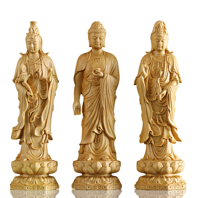 20cm Solid wood Chinese Buddhism Buda figurines Lotus Yellow Wealth God Buddha Statue god statues for