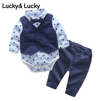 Kimocat Baby Boy Clothes Newborns Clothes Fashion Jumpsuit With Vest And Casual Pant For Newborn Infant