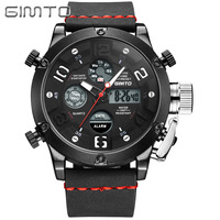Mens Sports Wristwatches Digital Quartz Genuine Leather Man Watches GIMTO Brand Multifunction Waterproof Calendar Week Alarm