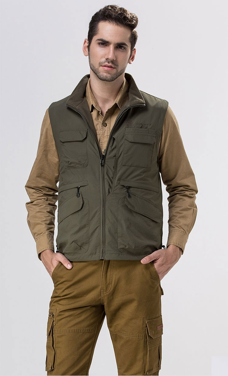2015 Autumn Spring Casual Men Vest Coat Fleece AFS JEEP Cotton Multi Pocket 4XL Cargo Outdoor Sleeveless Jackets Waistcoat Vests (2)