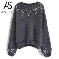 Anself Women Autumn Winter Solid Color Knitted Sweater Sequined Drop Shoulder Pulover Feminino O Neck Pullover Top Knitwear
