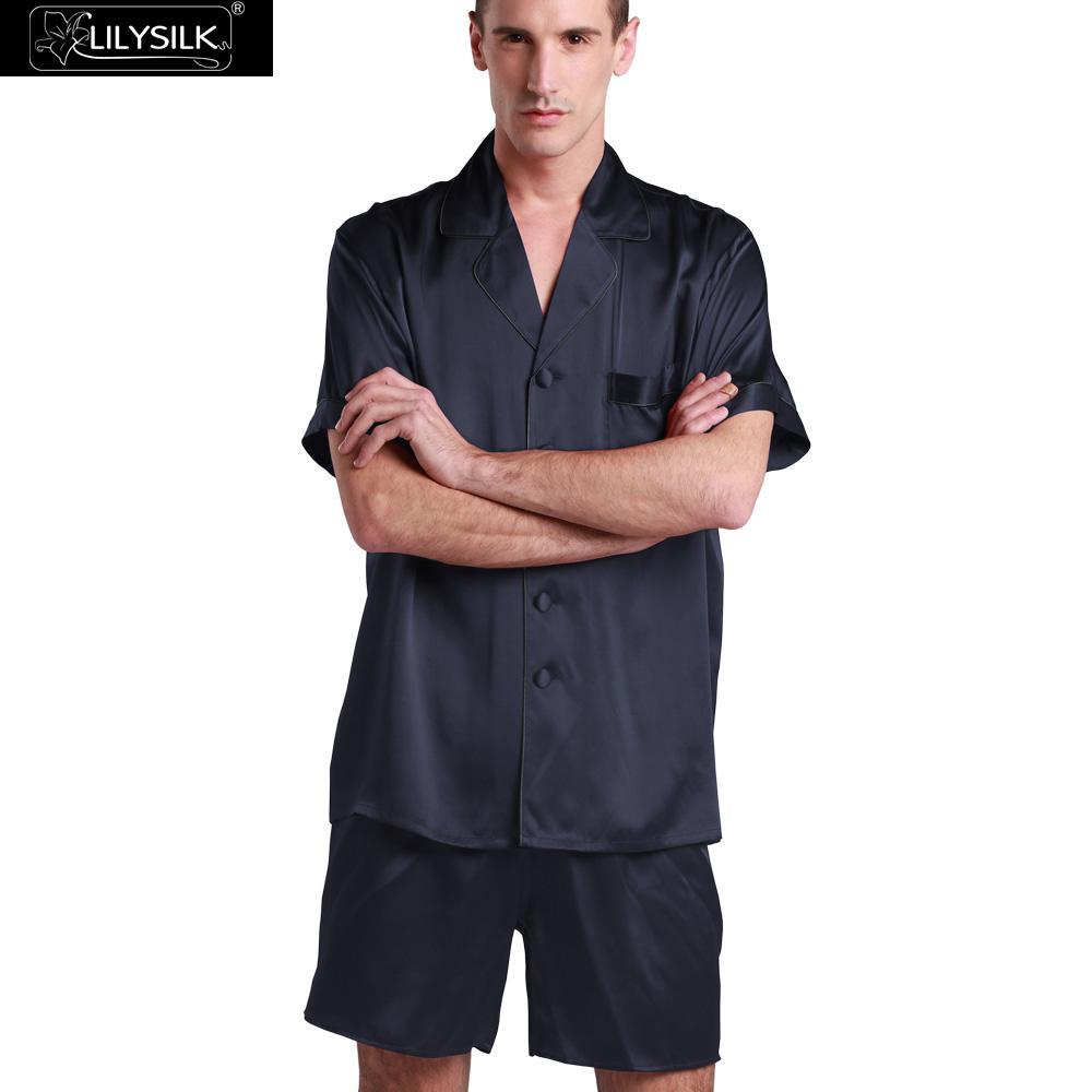 Lilysilk Men Pajamas Sets Nightwear Pure Silk Satin Short Sleeve Shirt Shorts Sexy Male 22mm Contrast