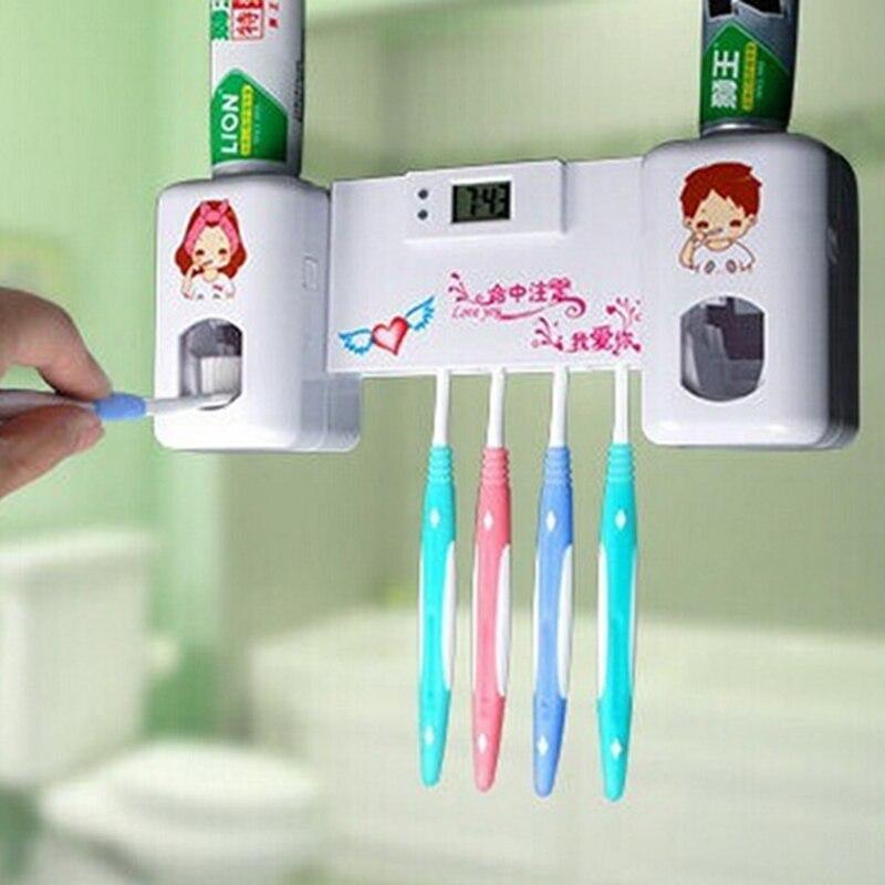 Cepillo de dientes titular auto apretando Pasta de Dientes Dispensador de casa de montaje en pared Soporte Set