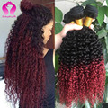 Kinky Curly Brasileiro Virgem Cabelo Weave 3 Bundles Ombre Cabelo Ombre Vermelho Tecer Encaracolado 1b Borgonha Ombre Brasileiro Do Cabelo Humano