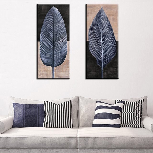 2 Piece Vintage Leaf Top Decorative Wall Paintings For Home Decor Idea Oil Painting Art Print On Canvas No Framed