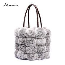 Moonooda Vintage Tote piel cubo con peluda hembra bolso de pelo de conejo  piel Crossbody PU cuero Otoño Invierno hombro c11b084a1e6