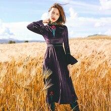 Aporia. King зимнее женское ретро платье с вышивкой в народном стиле с роговыми рукавами MZ01445