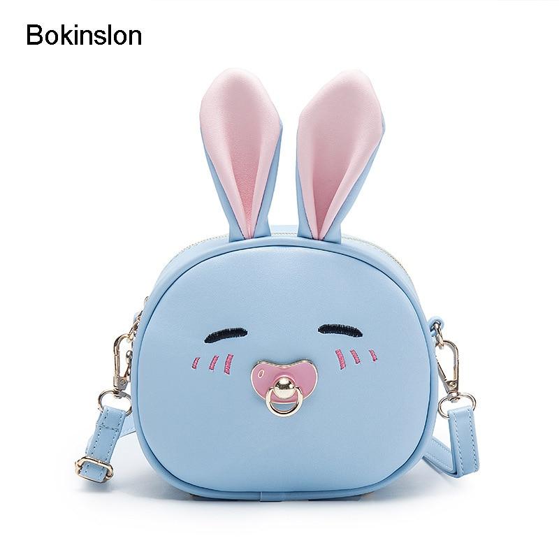 Bokinslon Children Mini Bags PU Leather Cute Baby Shoulder Bags For Girls Cartoon Small Fresh Kids Crossbody Bag