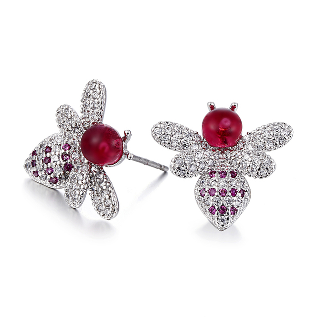 100% 925 sterling silver fashion cute little honeybee red crystal ladies`stud earrings jewelry Anti allergy women birthday gift
