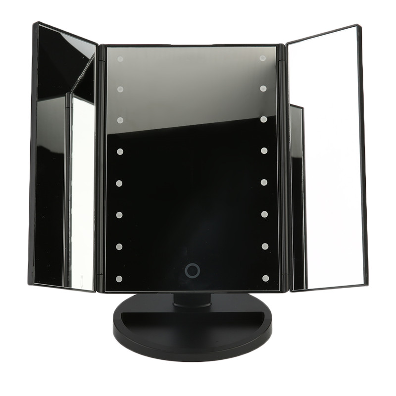 16 LED Lighted Makeup Mirror led Touch Screen Table Desktop Makeup 3 Folding Adjustable Mirror Cosmetic Mirrors Make up Tool Kit led adorable pet makeup mirror table