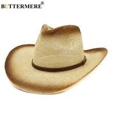 BUTTERMERE Sun Hat Cowboy Men Vintage Panama Straw Hats With Belt Women Beige UV Protection Casual Beach Wide Brim Summer