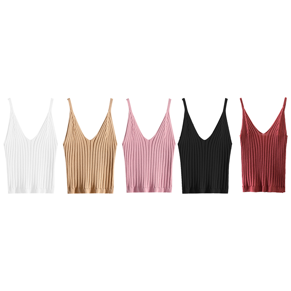 2019 Summer New Fashion Women Knitted Top Sexy V Neck Sling Cotton Blouse Vest Tank