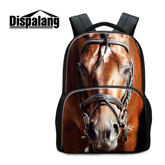 Dispalang 17 Inch Animal Print Backpack For Men Women Horse College Student School  Bag Casual Travel d820416db801f