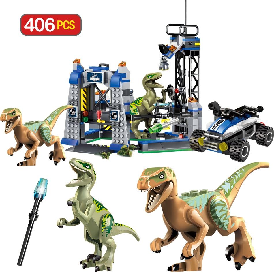 Jurassic Park Dinosaur Blocks Jurassic World 2 Transport Tyrannosaurus Rex Animal Bricks Toys For Children Gift