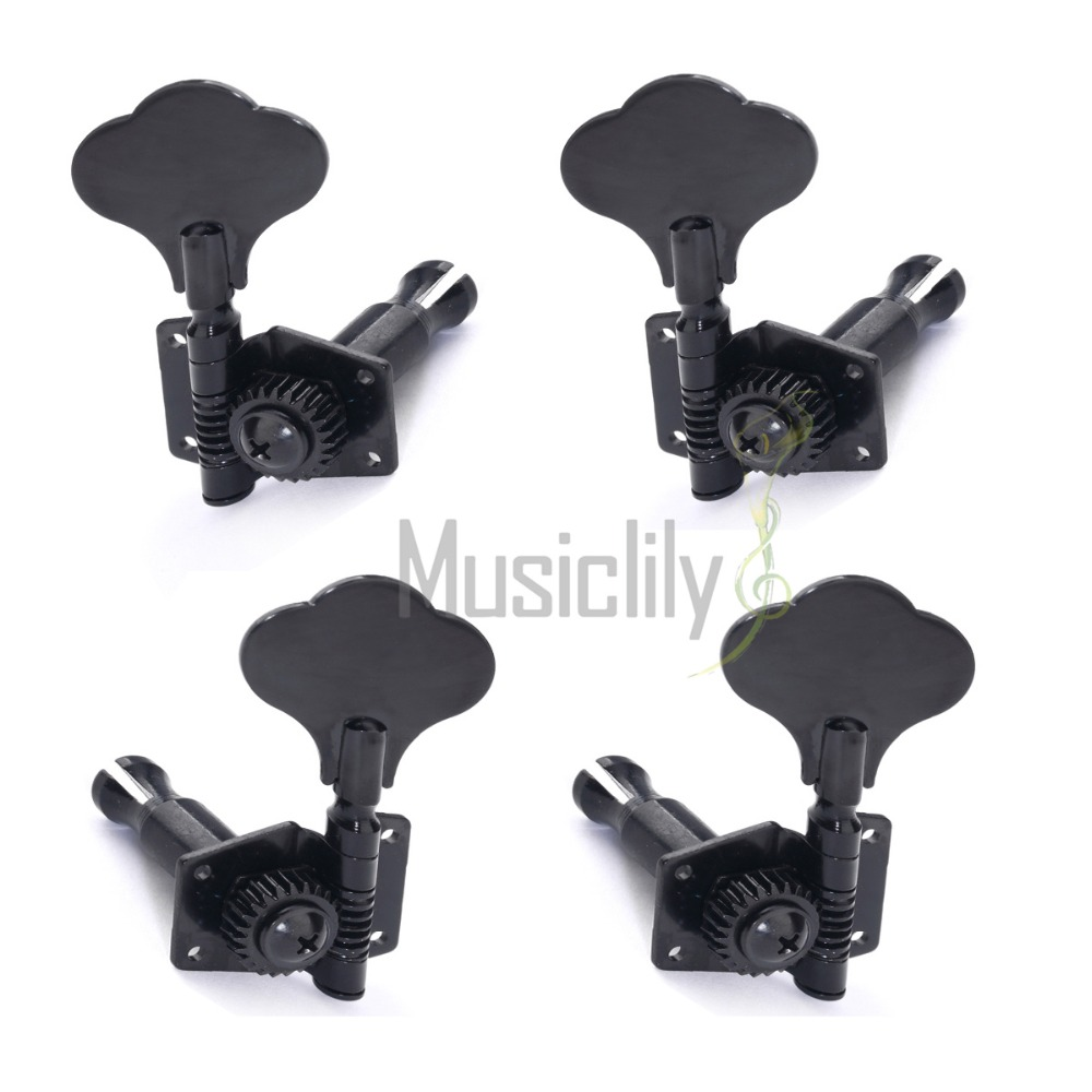 Musiclily Multiple Color Bass Open Gear String Tuning Pegs Keys Machine Heads Tuners 2R2L Set, Black/Chrome a set chrome sealed gear tuning pegs machine heads tuners for guitar with black big square wood texture buttons