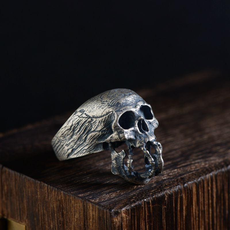 S925 silver restoring ancient ways process male money silver skull closed skull ring fashion model цена