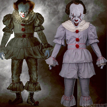 купить 2017 Movie Stephen King 's Costume Pennywise Clown Costume Tim Curry Horrible Mask Of Cosplay Costume Halloween Party Prop дешево