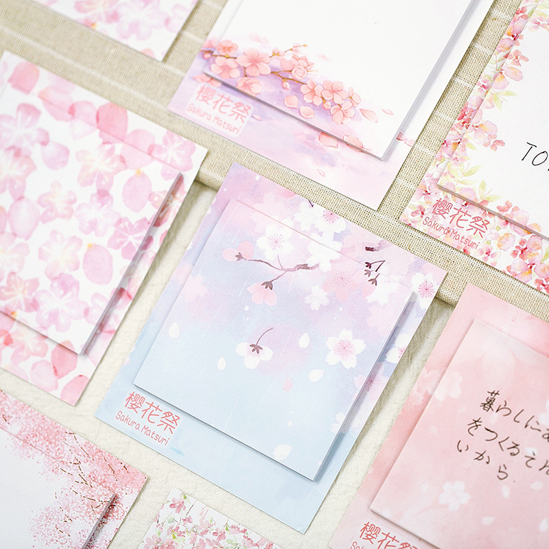 Cherry Sakura Creative Flower Memo Pad N Times Sticky Notes Escolar Papelaria School Supply Bookmark Label