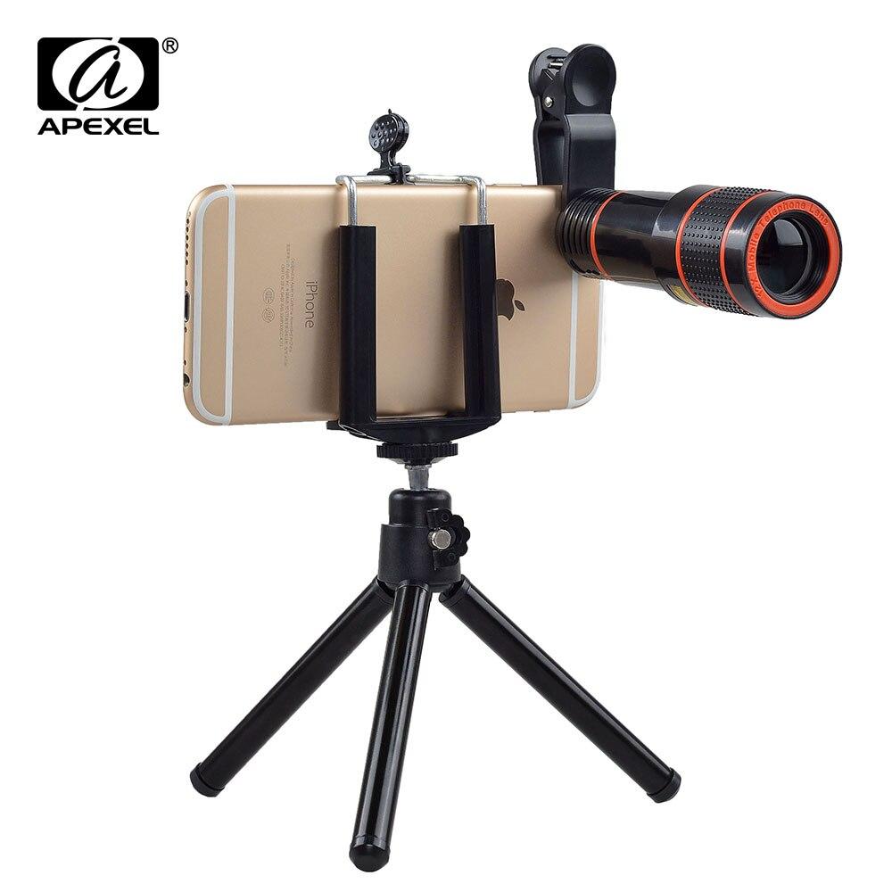 12X Lente Teleobjetiva Zoom Óptico Sem Cantos Escuros Do Telefone Móvel lente do Telescópio Câmera com tripé para o iphone 6 7 Samsung smartphone