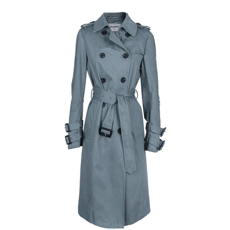 2019 Mode khaki X478 end Frühling Blue navy Frauen Trenchcoat Neue Lange High Herbst Zweireiher Deep xvU6qwx