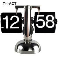 Table Clock Small Scale Retro Flip Over Desk Clocks Stainless Steel Flip Internal Gear Operated Quartz Clock