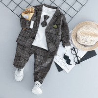 2018 New Fashion Autumn 3 Pieces/Lot +Pants Baby Boy Clothes Plaid Sets Bow Clothes Toddler Boys Clothes Set Wedding Outfits