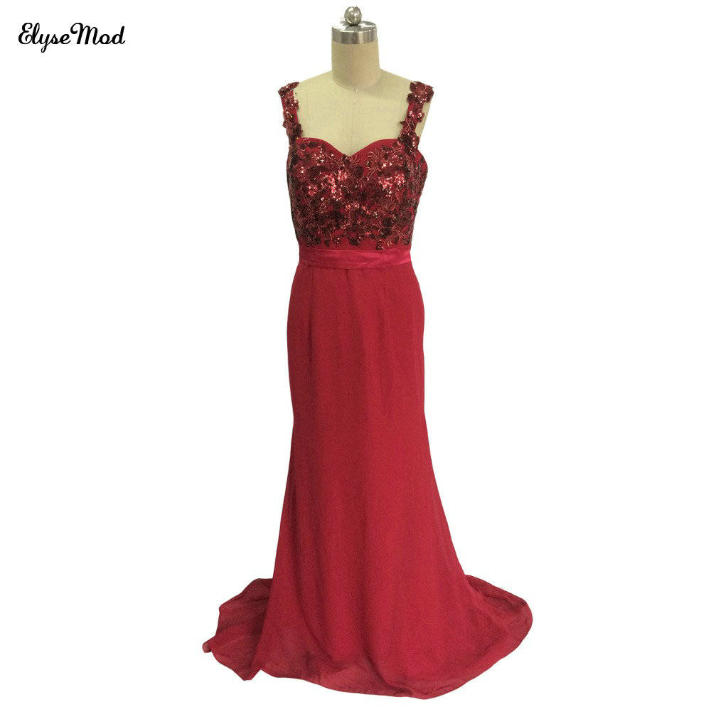 Real Photo Sheath Straps Floor Length Chiffon Sequined Two Shoulder Long Party Burgundy Wedding   Bridesmaid     Dresses   2018