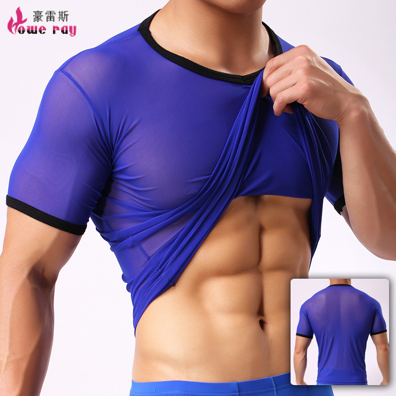 Undershirt Men Sexy Ice Silk Spandex See Through Basic T Shirt Seamless Polyester Tops Singlet Underwear Transparent Top Men ...