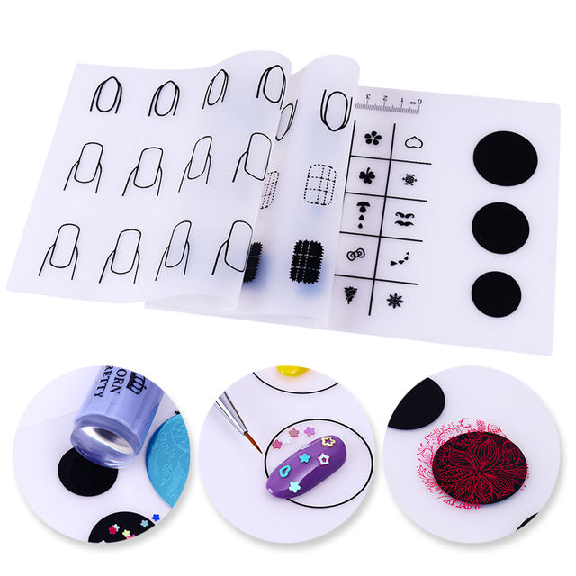 1 Pc Silicone Pad Stamping Portable Mat Foldable DIY Mini Nail Practise Transfer Template Nail Art Manicure Tool Kits