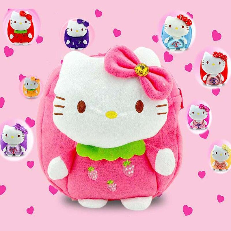 Мультфильм Привет Китти плюшевые рюкзак милые игрушки и хобби дети рюкзак куклы школьная сумка плюшевые сумки для 1-3-х лет девочек mochila