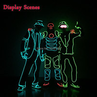 Neon Glowing Light Led Suit Cartoon Apple Colorful Illuminate Got Talent Show Decor Blinking EL Wire Costume as Halloween Lights