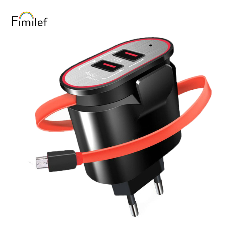Fimilef 5V3.4A Double USB Charger Portable Fast Wall Charger EU Travel Adapter for SamsungS9 Xiaomi Mobile Phone Line Charger