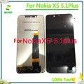 100% протестированный ЖК-дисплей кодирующий преобразователь сенсорного экрана в сборе для Nokia X5 5 1 Plus ЖК-дисплей запасные части для Nokia 5 1 Plus X5