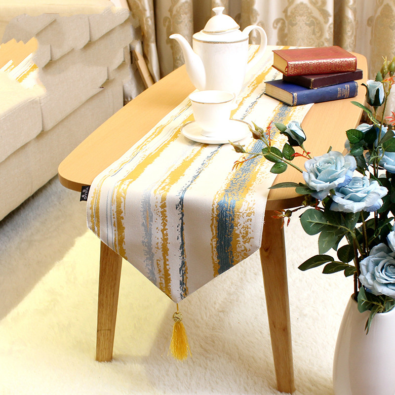 DUNXDECO Table Runner Golden Blue Jacquard Long Table Cover Fabric Modern Home Table Desk Party Decoration
