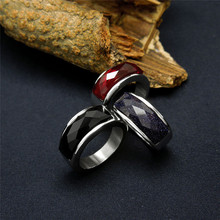Black/Blue/Red Stone Ring With High Quality Stainless steel