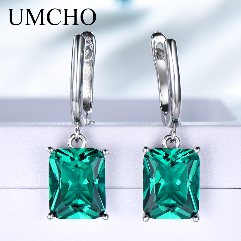 UMCHO Solid 925 Sterling Silver Emerald Engagement Wedding Earrings for Women Gemstone Vintage Statement Bridal Jewelry Gift forUMCHO Solid 925 Sterling Silver Emerald Engagement Wedding Earrings for Women Gemstone Vintage Statement Bridal Jewelry Gift for