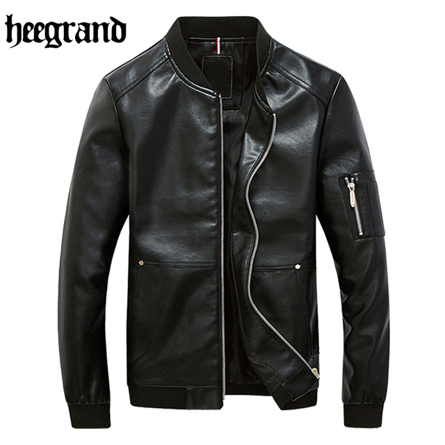 HEE GRAND 2017 New Fashion New Men Middle-aged Men PU Leather Jacket Lapel Thick Warm High-quality Leather Jacket MWP372