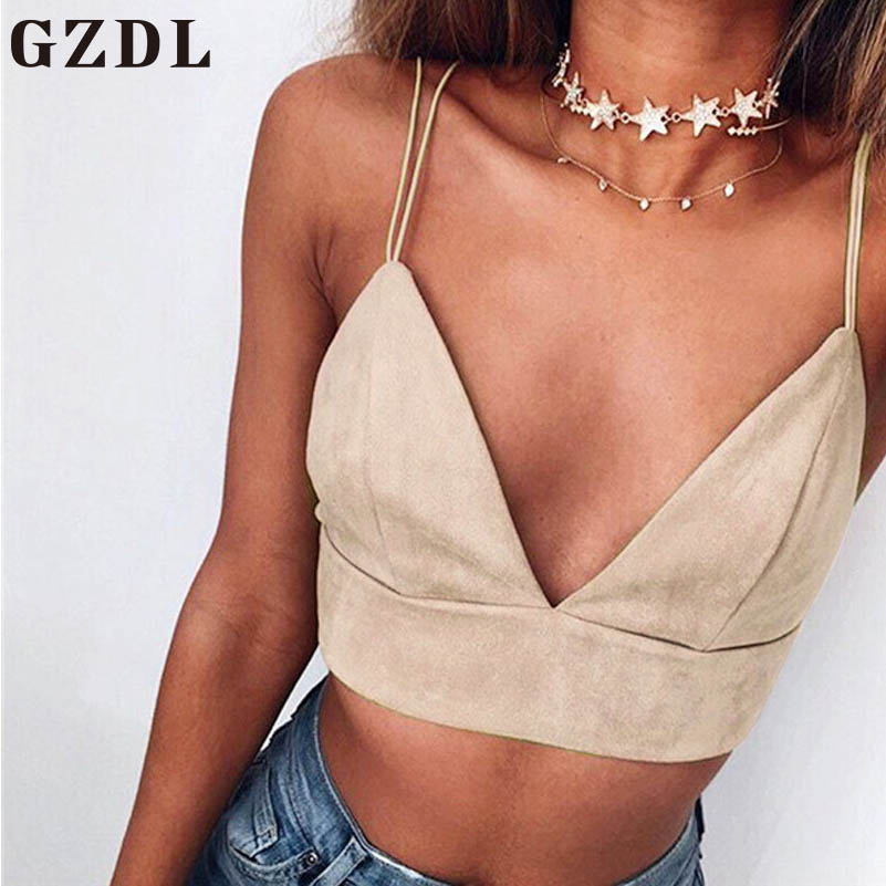 0e19c137593b5 GZDL Sexy V Neck Camisole Tank Top Summer Vintage Apricot Solid ...