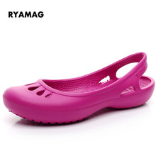 948ff536ec2e 2018 New Home Non-slip Summer Hole Shoes Female Flat Sandals Plastic Jelly  Sandals Female Large Size Girls Clogs EVA Shoes