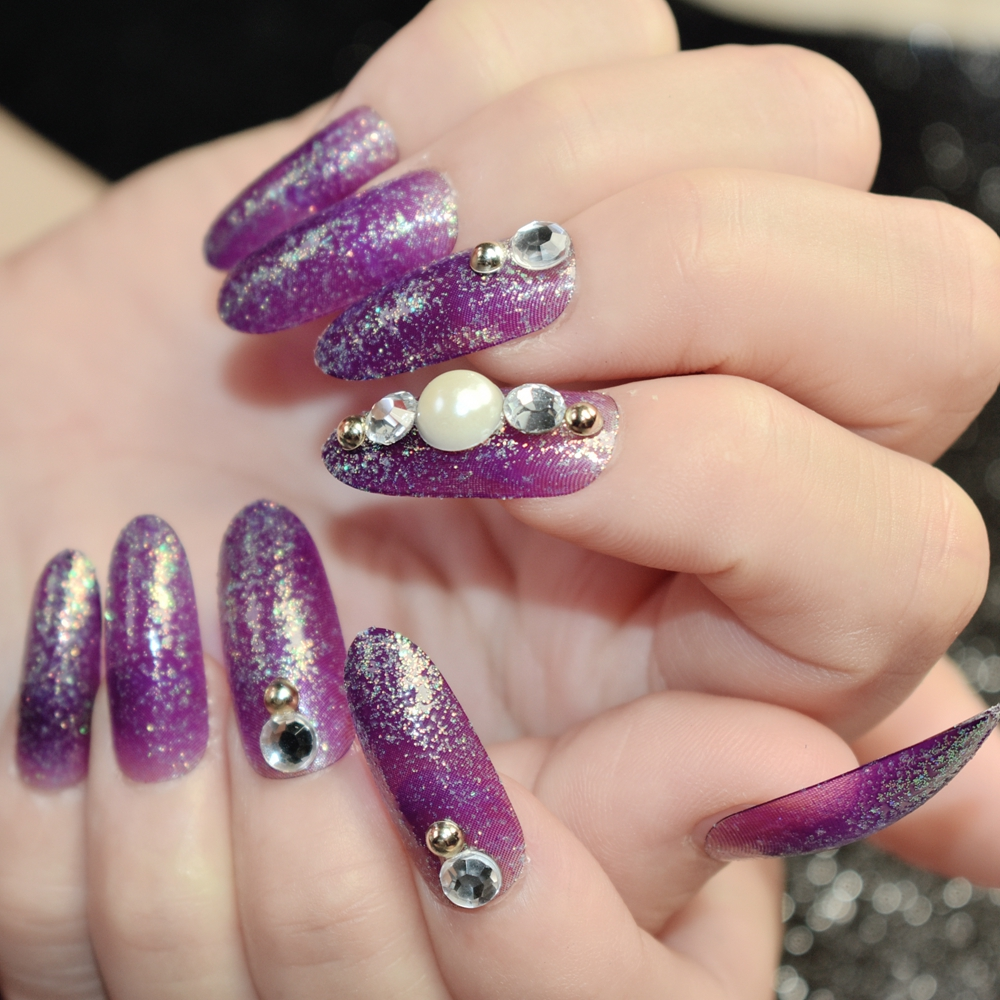 Dark Purple Acrylic Artificial Nails Shimmer Glitter UV 3D Nail Art ...