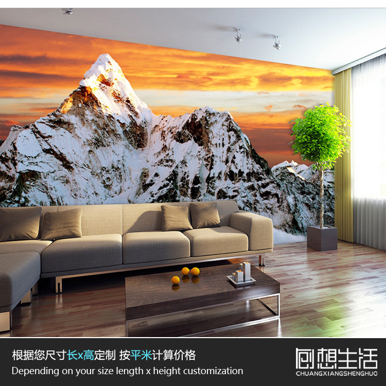 Jin Xueshan Mount Everest scenery 3D wallpaper the living room sofa bedroom TV background 3D wallpaper 3D large mural character free shipping 3d wall painting sofa wallpaper living room tv background wallpaper grassland wallpaper mural