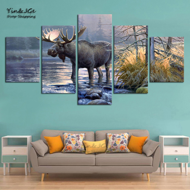 Living Room Wall Art Frame 5 Panel Moose Animal Lake Landscape Abstract Pictures Home Decor Modern HD Printed Canvas Paintings