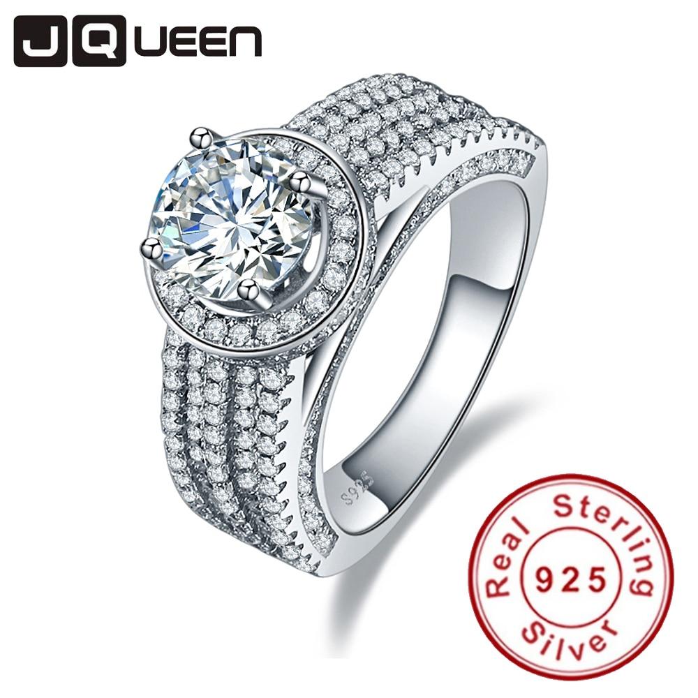 8f4b51c78780 Jqueen boda Anillos 3.45ct zirconia cúbico piedra 925 plata esterlina  Anillos para las mujeres anillo de compromiso aneis delicado con la Caja