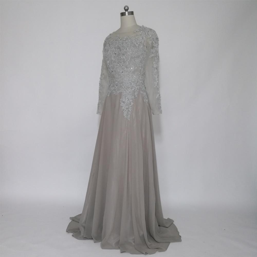 JIERUIZE Grå Chiffon Lange Ermer Kjole A-Line Lace Appliques Beaded - Spesielle anledninger kjoler - Bilde 4