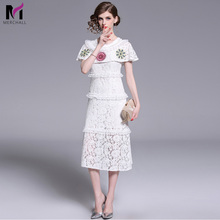 Merchall Women Hollow Out Emboridery Flower Ruffles Layer A Line Lace Dress 2019 Summer Runway White Self Portrait Midi Dresses