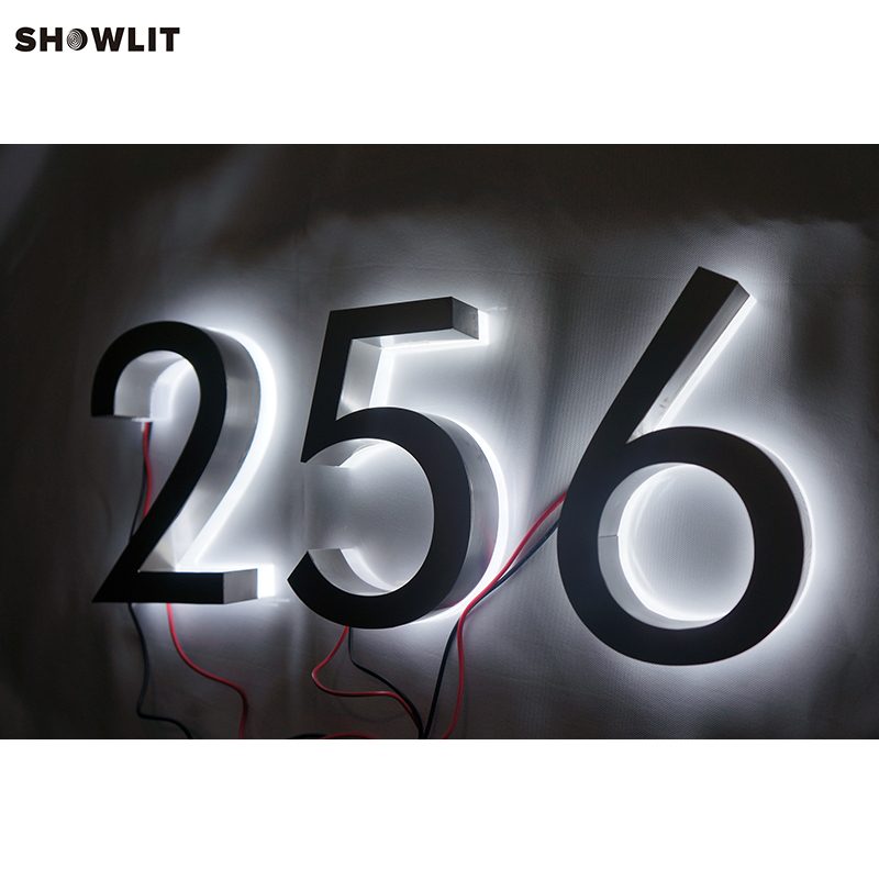 Custom Waterproof LED 3D Halo Lit Letter Sign Stainless Steel House Number [zob] 100