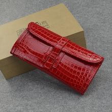2017 Luxury Design High Quality Pu Leather Handbag Crocodile Grain Envelope Long Wallet Women Messenger Bag