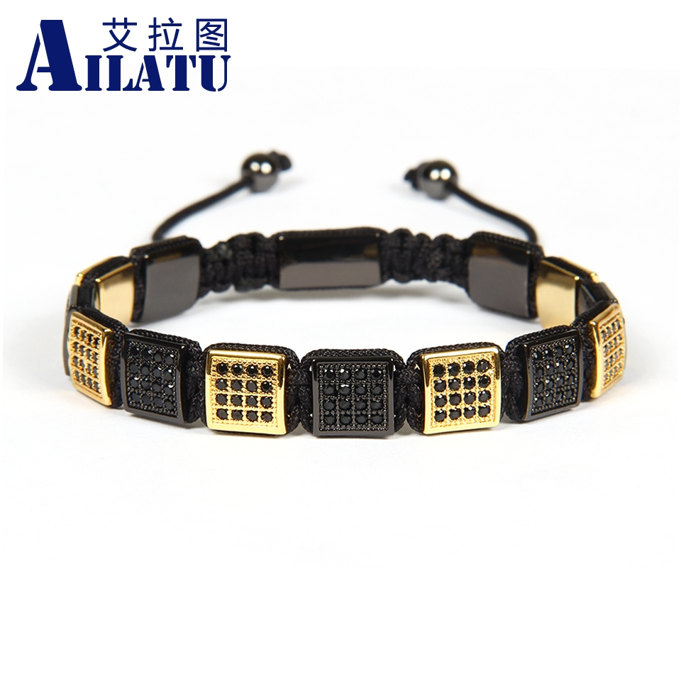 Ailatu Men Micro Pave Black Cz Macrame Bracelet